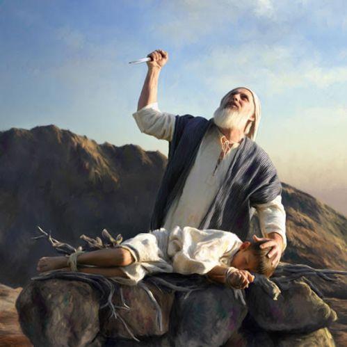 Abraão no momento do sacrifício de seu filho Isaac para a sua divindade
